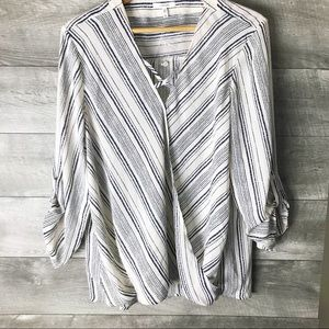 Maurices striped draped blouse top
